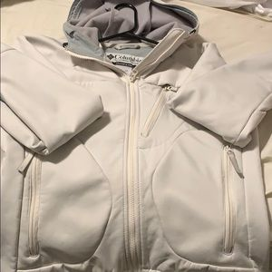 Columbia jacket with hood greyish white medium